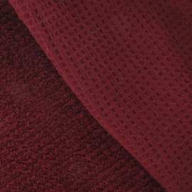 Honeycomb towel fabric - Burgundy x 10cm