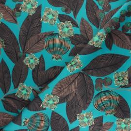Tissu velours ras Fruit du Paradis - vert x 50cm