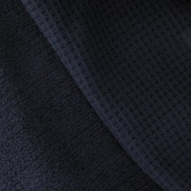 Honeycomb towel fabric - Navy x 10cm