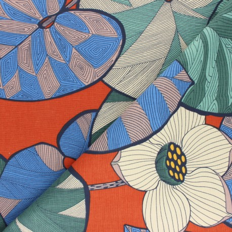 Tissu toile viscose lin Idris - brique x 50cm