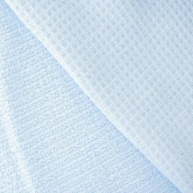 Honeycomb towel fabric - Dragée blue x 10cm