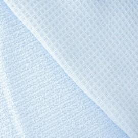Tissu éponge nid d'abeille bleu dragée
