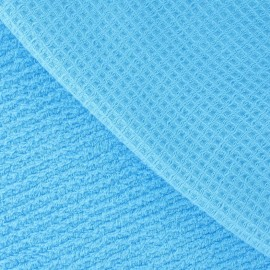 Honeycomb towel fabric - Cyan blue x 10cm