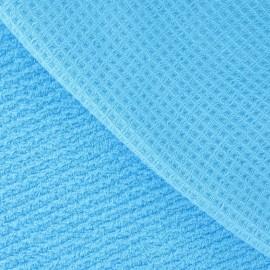 Tissu éponge nid d'abeille bleu cyan