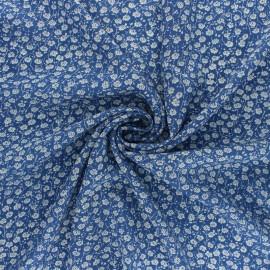 Rayon fabric - blue Primavera x 10cm