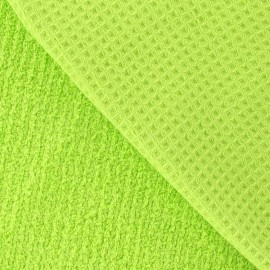 Honeycomb towel fabric - Lime x 10cm