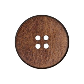 Recycled Leather Button - Brown Randall