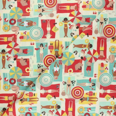 Cretonne cotton Fabric - red La plage x 10cm
