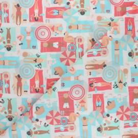 Tissu coton cretonne La plage - corail x 10cm