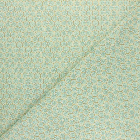 Tissu coton cretonne Riad - vert d'eau x 10cm