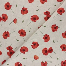 Polycotton linen aspect canvas - Natural Coquelicot x 10cm