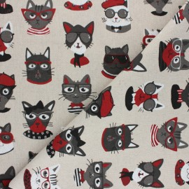 Polycotton linen aspect canvas - Natural Funny cats x 10cm