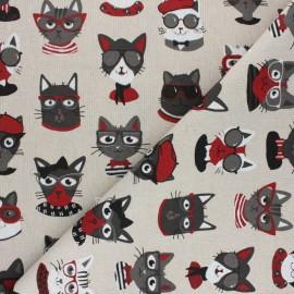 Toile polycoton aspect lin Funny cats - Naturel x 10cm