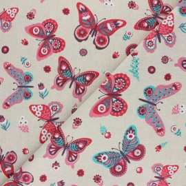 Tissu Toile polycoton aspect lin Flowery butterfly - Naturel x 10cm