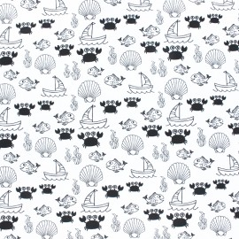Printed Jersey fabric - white Sea world x 10cm