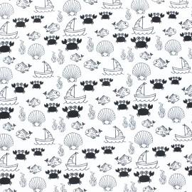 Tissu jersey Sea world - Blanc x 10cm
