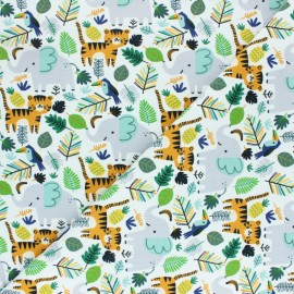 French terry fabric - white Jungle friend x 10cm