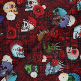 Short velvet fabric - red Punky x 10cm