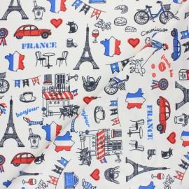 Tissu coton cretonne enduit Bonjour Paris - blanc x 10cm