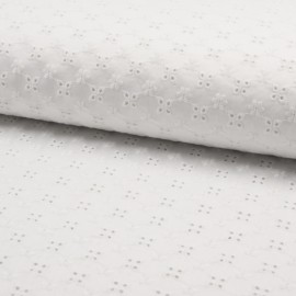 English embroidery cotton fabric - white Solene x 10cm