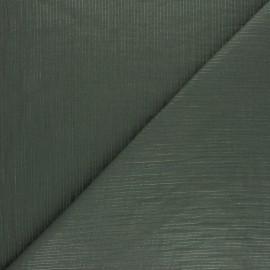 Tissu double gaze de coton rayure lurex - Vert kaki x 10cm