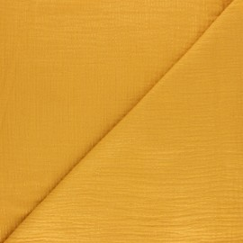 Lurex stripe double cotton gauze fabric - mustard yellow x 10cm