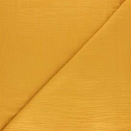 Tissu double gaze de coton rayure lurex - Jaune moutarde x 10cm