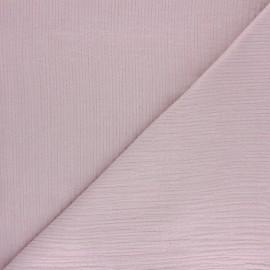 Tissu double gaze de coton rayure lurex - Vieux rose x 10cm
