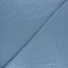 Tissu double gaze de coton rayure lurex - Bleuet x 10cm