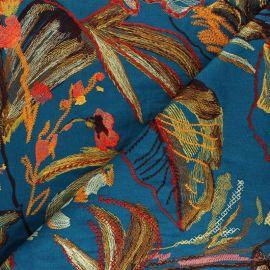 Tissu toile brodé Showtime - Bleu paon x 50cm