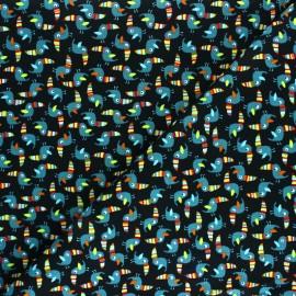 Tissu Popeline Colorful Toucan - noir x 10cm