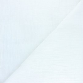 beau tissu chic  lin brodé blanc cassé  ecru vente au metre