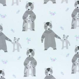 Tissu coton Camelot Fabrics Bear Hug Mama - blanc x 10cm