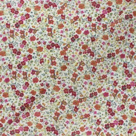 Tissu popeline de coton Champ fleuri - bordeaux x 10cm