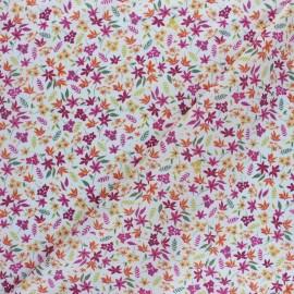 Tissu popeline de coton Jolie floralie - bordeaux x 10cm