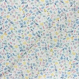 Tissu popeline de coton Jolie floralie - bleu gris x 10cm