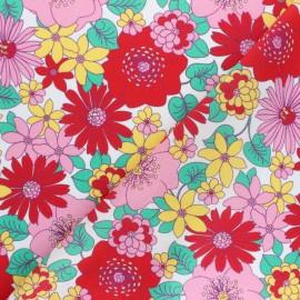Patterned Viscose fabric - white Floraison printanière x 10cm