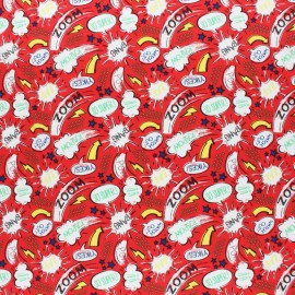 Tissu coton Camelot Fabrics Heroes - Kapow in Red x 10cm