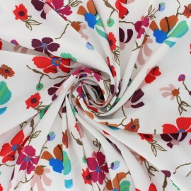Elastane Crepe fabric - White Flower show x 10cm