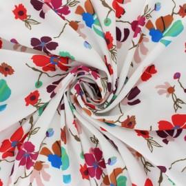 Tissu crêpe élasthanne Flower show- Blanc x 10cm