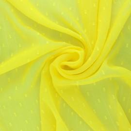 Tissu Mousseline lurex plumetis - jaune mimosa x 50cm