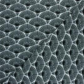 Crepe fabric - white Exotic leaf x 10cm
