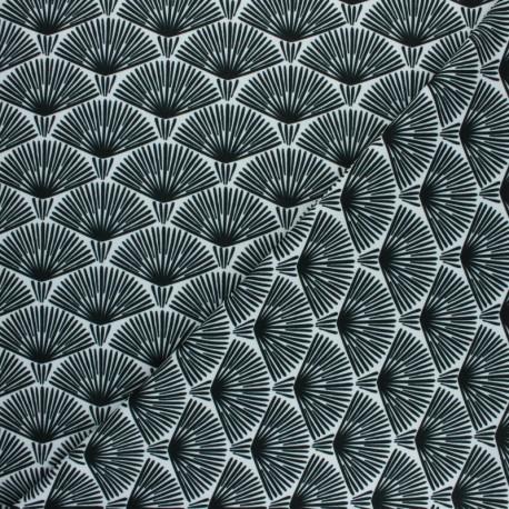 Tissu Crêpe Exotic leaf - blanc x 10cm