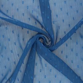 Tissu Mousseline lurex plumetis - bleu x 50cm
