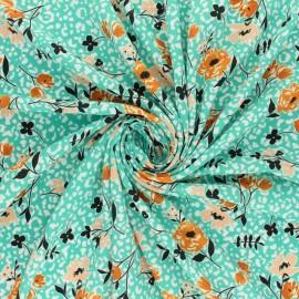 ♥ Coupon 10 cm X 145 cm ♥ Crepe fabric - green Allée en fleurs