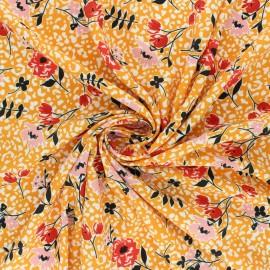 Crepe fabric - yellow mustard Allée en fleurs x 10cm