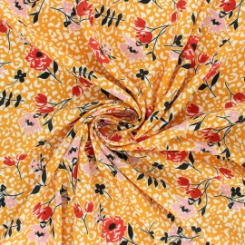 Tissu Crêpe Allée en fleurs - jaune moutarde x 10cm
