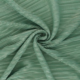 Lurex Pleated polyester fabric - green Harmonie x 10cm