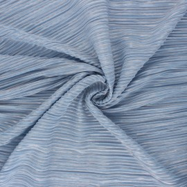 ♥ Coupon 250 cm X 145 cm ♥ Tissu polyester plissé Lurex Harmonie - bleu ciel