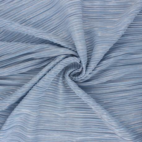 Tissu polyester plissé Lurex Harmonie - bleu ciel x 10cm